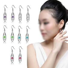 Women Silver Plated Crystal Dangle Earrings Eardrop Earhook Ear Drop Hook Decor