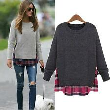 Hot women Splice Oversize Sweater Jumper Pullover tops shirt Blouse plus AU size