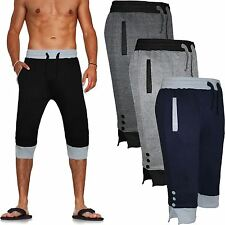 MENS LONG SHORTS 3/4 CARGO 2 TONE FLEECE ELASTICATED COMBAT GYM JOGGER Pants