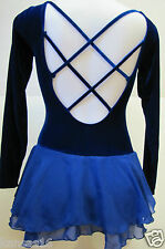 SKATING DRESS Beautiful Blue Ice Figure Skate Costume Crossed Straps Adult S M L