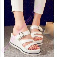 Women's casual fashion slippers shoes punk strappy buckle slide flip-flops NEW
