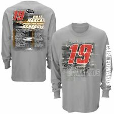 Mens Carl Edwards Checkered Flag Gray 2015 Driver Schedule Long Sleeve T-Shirt