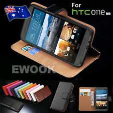 Cover Real Genuine Leather Stand Wallet Flip for HTC One M9 Case
