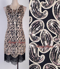 1920's Flapper Party Club Gatsby Downton Abbey Sequin Fringed Black Gold RR 3239
