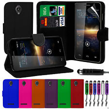 Premium PU Leather Wallet Flip Case Cover, Film & Pen For Vodafone Smart 4 Turbo