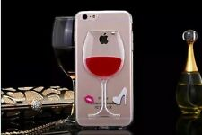 3D Quicksand Liquid Wine Bottle Glass Case Cover Skin For Apple iPhone & Samsung