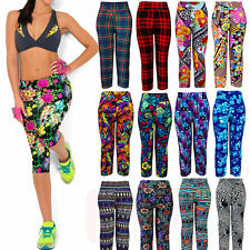 Sexy Women Calico Aztec Print Cropped Pants Stretchy Capri Pants Yoga Trousers