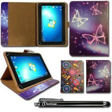 """Printed Leather Wallet Case Cover Stand for 10.1"""" Android Tablets + Stylus Pen"""