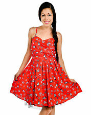 Too Fast Nautical Sailing Ship & Anchor & Wheel Rockabilly Carol Ann Red Dress
