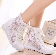 New Womens Fashion Wedge Heel Lace Up Mesh Summer Sneakers Trainer Boots Shoes