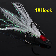 Lots 4# Treble Feather Fishing Hooks Red For Minnow Fishing Lures Crankbaits