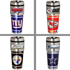 Choose NFL Team 16oz Stainless Travel Tumbler Mug w/ Hi-Def Metallic Graphics