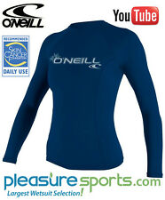 O'Neill Women's Long Sleeve Rashguard 50+ UV Protection Deep Sea Blue VIDEO