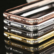 CRYSTAL RHINESTONE DIAMOND BLING METAL BUMPER CASE COVER FOR S5 i9600 & S6 G9200
