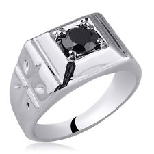 Small Size .925 Sterling Silver Men Ring with 6mm Black CZ Stone