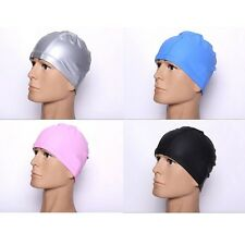 Unisex Adult PU Stretch Swimming Long Hair Cap Swim Hat With Ear Cup Waterproof