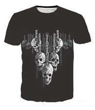 Skull Hanging Out Gothic Skeleton Tee T-shirt # A005