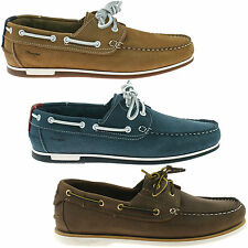 MENS WRANGLER LEATHER BOAT DECK SHOES SIZE UK 8 - 11 BLUE BROWN TAN FOWLER OCEAN