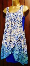 WALLIS Blouse Size 8-14 Blue Pink Floral Print Chiffon Layer Summer Tunic Top