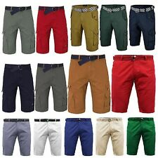 NEW MENS CASUAL CHINO CARGO COMBAT SHORTS BOTTOMS KNEE LENGTH FREE BELT SUMMER