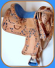 "15"" 16"" BLUE Filigree Natural Leathr FQHB Western Show Trail Saddle Headstall BP"