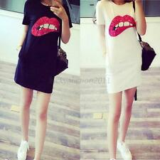 Sexy Summer Women Short Sleeve Sequins Lip Casual T-Shirt Long Tops Mini Dress