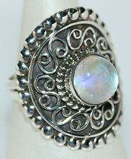 ANTIQUE style Sterling Silver Mystic Moonstone Ring 925, M,6 to V,100.5