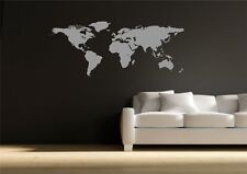 World Map Atlas Wall Sticker Quote Decal Transfer Mural Stencil Art Tattoo