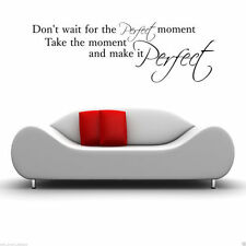 PERFECT MOMENT Wall Art Sticker Lounge Quote Decal Mural Stencil Transfer