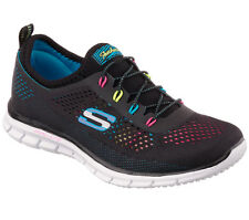 22709 Black Skechers Shoes Memory Foam Women Sporty Casual Mesh Flex Stretch Fit