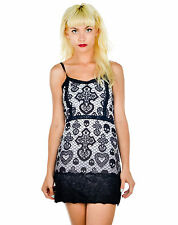 Too Fast Skull Cross & Heart Lace Black & White Curse Ombre Slip Strappy Dress