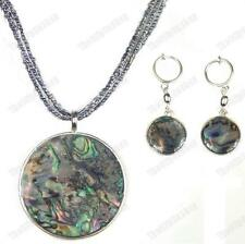 PAUA SHELL abalone NECKLACE & EARRINGS SET round pendant CLIP ON/HOOKS silver pl