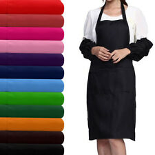 UK Plain Apron With Two Front Pocket Chefs Kitchen Cooking Craft Baking Butchers