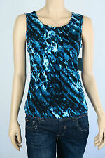 Marc New York Ladies Pleated Front Sleeveless Top XSmall Small Colour Black Blue