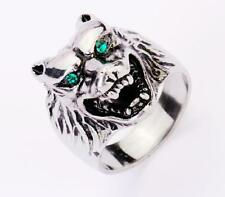 men's cool silver demon Blue eye wolf head ring 316L Stainless Steel us 8-14