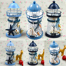 Mediterranean Lighthouse Candlestick Creative Iron Candle Star Blue Ship