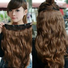 Women Long Wavy Curly Five Clip Onepiece Clip-in Hair Extensions Fibre Hairpiece