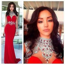 Pageant Gown Bead Ball Crystal 2015 Formal Prom Long Party Dress Evening Mermaid