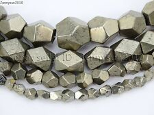 Natural Pyrite Gemstone Freeform Faceted polygonal Beads 15.5'' 6mm 8mm 10mm