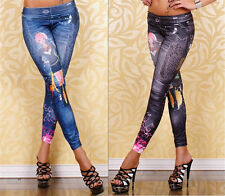 Women's Sexy Skinny Slim Skinny Stretchy Jeggings Tattoo Soft Tights Pants 9020