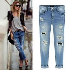 JEANS DESTROYED RIPPED DISTRESSED STRAIGHT BOYFRIEND CROPPED WOMEN WASHED DENIM