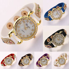 Fashion Women Crystal Leather Suede Bracelet Quartz Wrist Watch