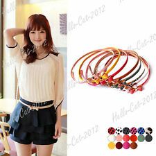 Women Lady Girl Big Bowknot PU Leather Thin Skinny Waistband Belt 16 Candy Color