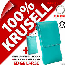 New Krusell Edge L Large Genuine Leather Mobile Pouch Slim Case Cover+Clip Blue