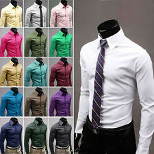 New Mens Luxury Casual Slim Fit Stylish Dress Shirts 14 Colors 5 Size
