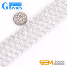 Natural White Rock Clear Crystal Quartz Faceted Round Beads Free Shipping 15""