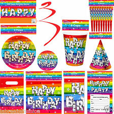 Funky Rainbow Birthday Party Cups Plates Hats Banners and Tableware Decoration