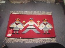 NWT NEW Russian Folk Art Kilim Hand Knotted Wool Tapestry 2'-2 x 1'-7 Red