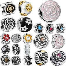 Charm Bead DIY Flowers New Style Fit Women European Silver 925 Sterling Bracelet