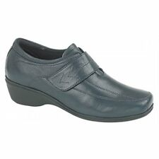 Mod Comfys Womens Ladies Velcro Wedge Leather Casual Comfortable Shoes Navy Blue